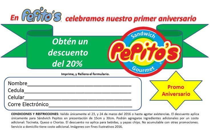 disfruta de nuestra Promo-Aniversario..... Imprime, llena el formulario y listo!!!! #amigospepitos #momentospepitos