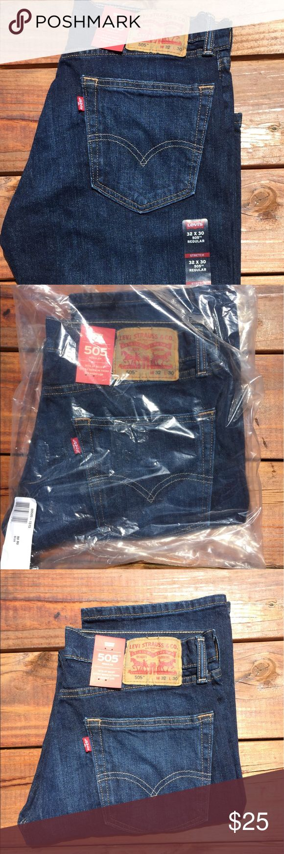 Levi's 505 Regular Fit Stretch Jeans 32x30 New Levi's 506 Regular Fit Jeans Stretch 32x30 Dark Stonewash.             New with tags    Item#005051314 Levi's Jeans Straight