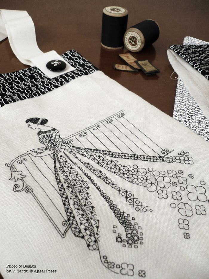 Julia - by Valentina Sardu for Ajisai Designs - blackwork pattern available for purchase.  Love the use of the white space on her dress.