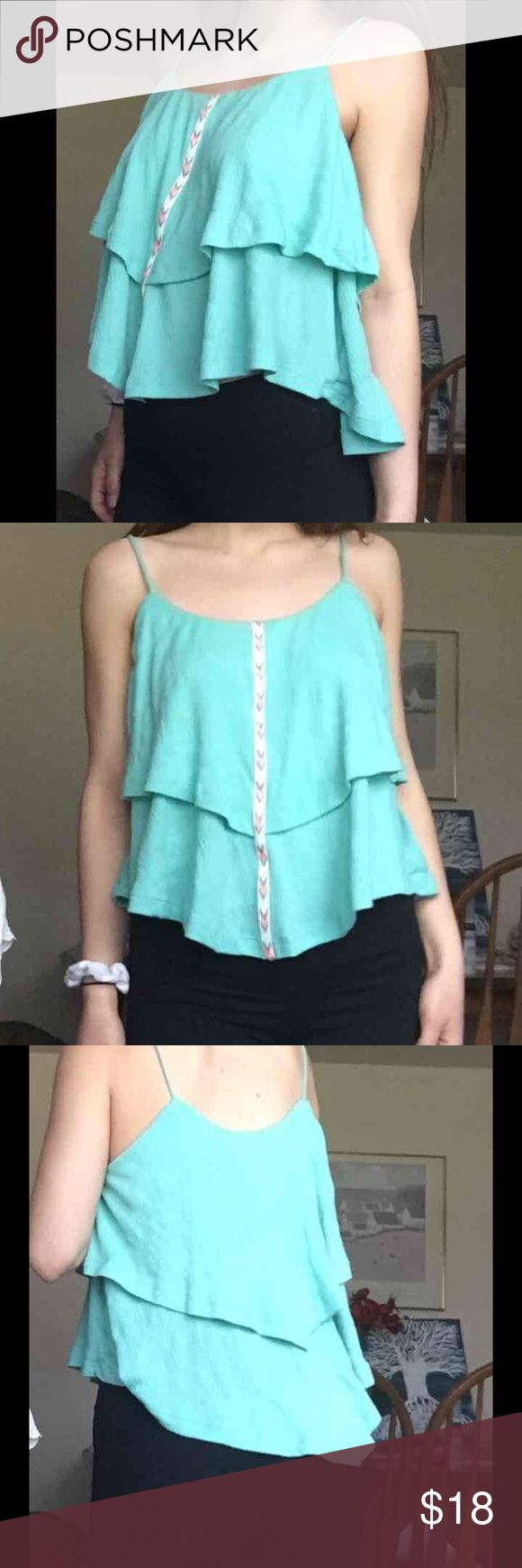 Two tier turquoise cami Tiered blue cami super cute front embroidery perfect for summer like urban outfitters PLEASE NO LOW BALLING THANK YOU :) Urban Outfitters Tops Tank Tops
