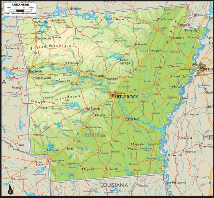 Physical Map of Arkansas - Ezilon Maps