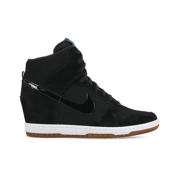 NIKE SPORTSWEAR DUNK SKY HI PRINT SNEAKER ❤ liked on Polyvore featuring shoes, sneakers, high top sneakers, wedge sneakers, black trainers, lace sneakers and black hi top sneakers