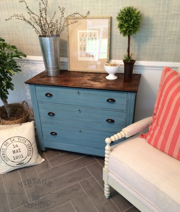 Antique Dresser dresser painted in Annie Sloan Chalk Paint. Mix of Duck Egg and Aubusson Blue
