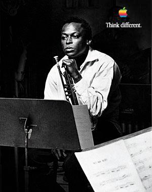 "A classic photo of Miles Davis, part of Apple's ""think different"" campaign."