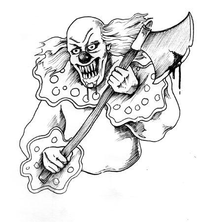 Evil Clown Pencil Coloring Pages