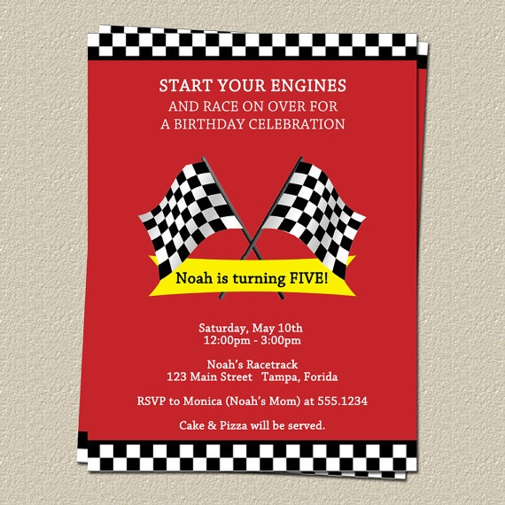 Cars Invitation Card Template Free: Race Track Birthday Party Invitations, Boys, Red