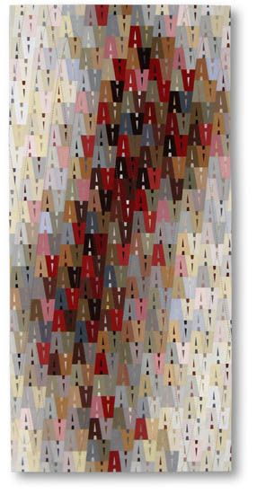 "A440, 58"" x 27½"", by Liz Kuny. Cotton fabric, oil paintsticks. Machine pieced; machine & hand quilted."