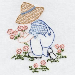 "*  ""Flowers""  Denim Dan.  Aunt Martha's Embroidery.  OregonPatchWorks"