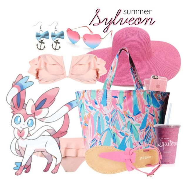 """Pokemon Beach: Sylveon"" by freezespell ❤ liked on Polyvore featuring Beauty & The Beach, Boohoo, Origins, Casetify, Lilly Pulitzer and Bamboo"