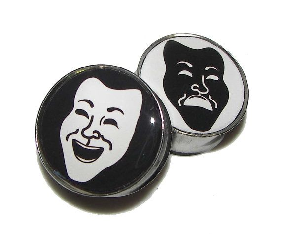 "Comedy & Tragedy Theater Mask Plugs - 1 Pair - Sizes 2g, 0g, 00g, 7/16"", 1/2"", 9/16"", 5/8"", 3/4"", 7/8"", 1"" on Etsy, $17.95"