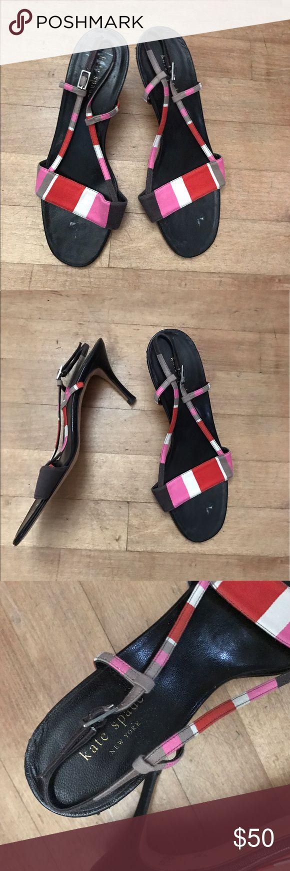 Kate Spade strappy heels sandals Pre-owned - GUC - striped strappy heels kate spade Shoes Sandals