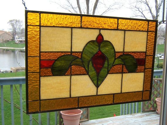Simple Victorian Stained Gl Panel Window Red Amber Hanging