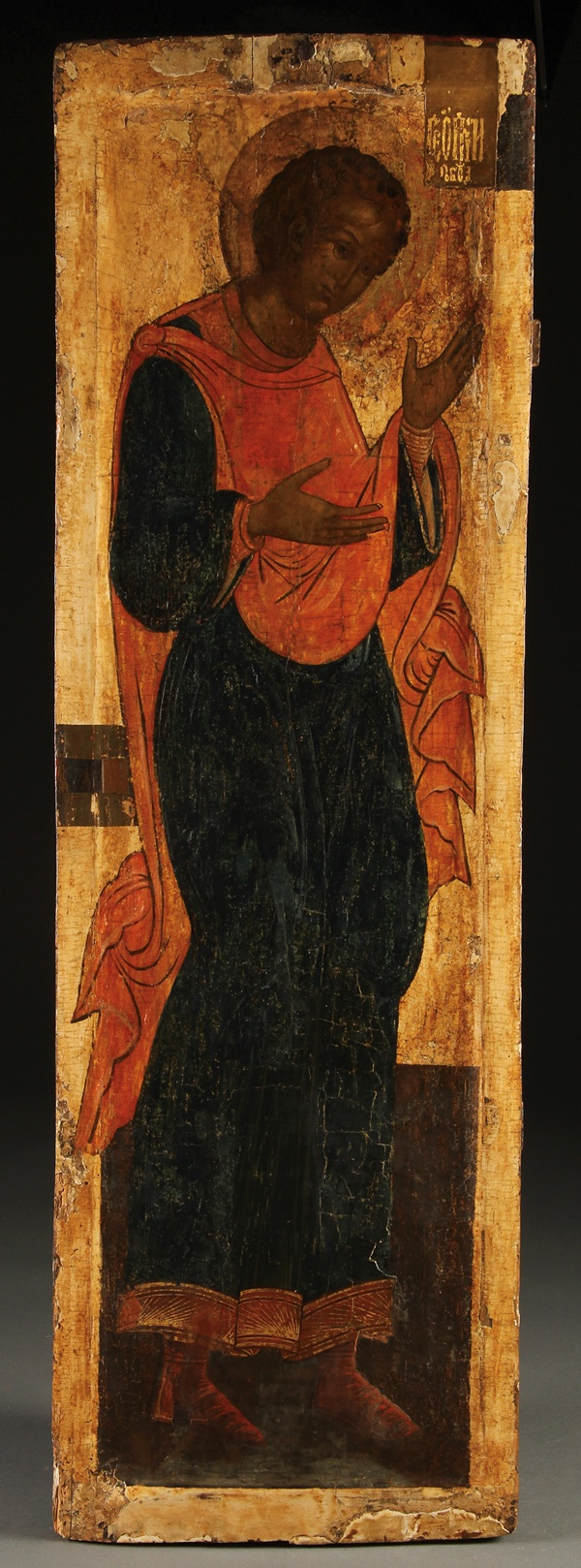 A RUSSIAN ICON OF SAINT GEORGE THE VICTORIOUS, CIRCA 1600.   Estimate:  $3,000 - 5,000