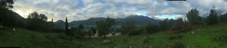 Panoramic view in the back garden of the villa before sunrises!