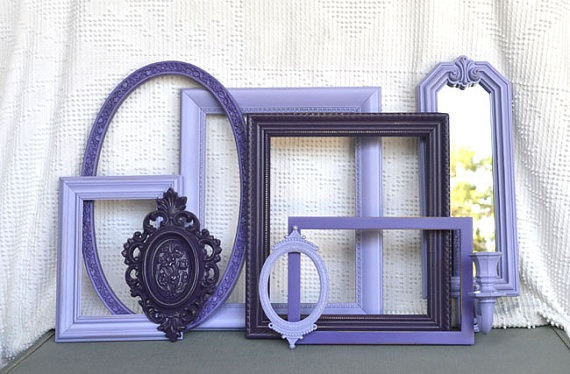 Purple Painted Ornate Frames Set of 7 with sconce  by BeautiSHE, $68.00: Purple Paintings, Ornate Frames, Paintings Ornate, Frames Sets