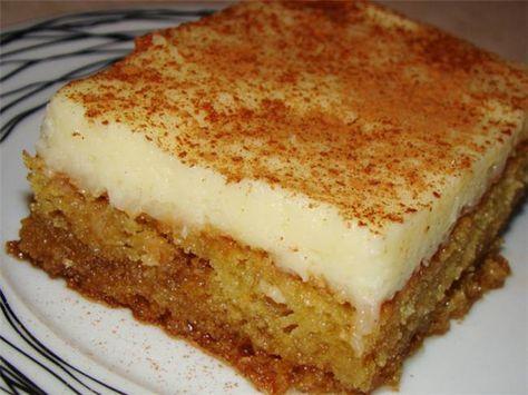 Μια συνταγή για ένα υπέροχο γλύκισμα. Απίστευτο αποτέλεσμα. Σιροπιαστή βάση με άρωμα μαστίχας και κρέμα ζαχαροπλαστικής πασπαλισμένη με κανέλα !!! Γνωστό κ