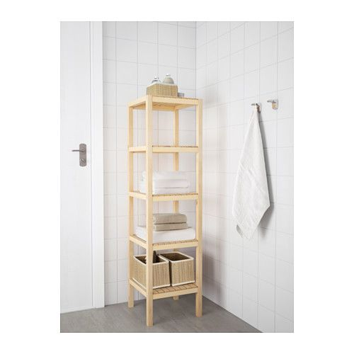 Maybe use to hold towels if not enough room in cubby MOLGER Shelf unit - birch - IKEA