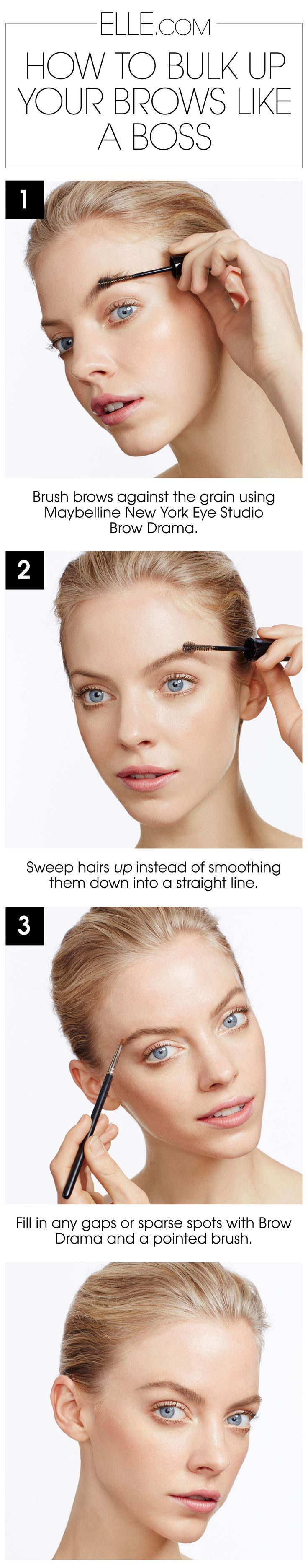 Bulk up your brows using Brow Drama Sculpting Brow Mascara in this step-by-step beauty tutorial by @Elle.