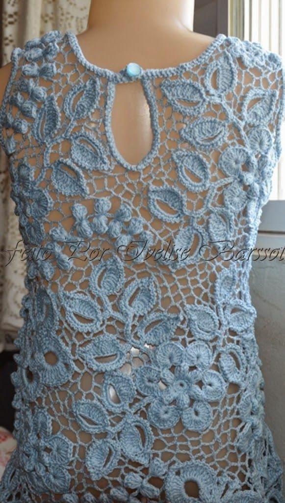 Letras e Artes da Lalá: Blusas e vestidos: Crochê irlandês/Irish Lace (Google- sem receitas