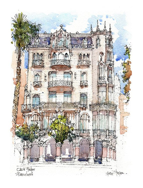 Casa Fuster PRINT / Lluís Domènech i Montaner. Eixample, Barcelona / drawing…