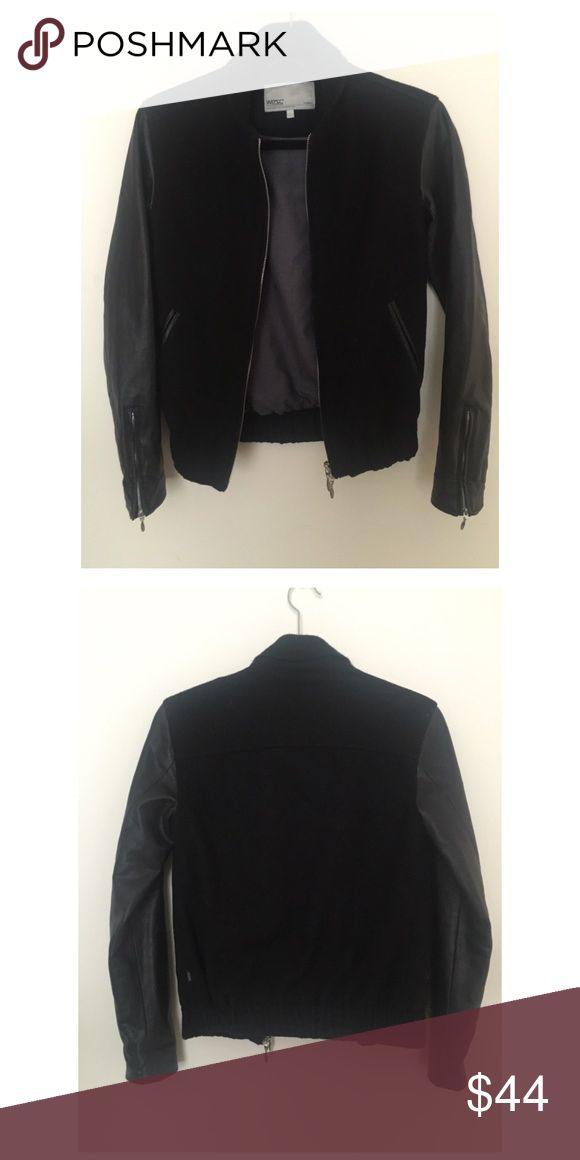 Black Bomber Jacket from Urban Outfitters Black bomber jacket from Urban with pleather sleeves Urban Outfitters Jackets & Coats
