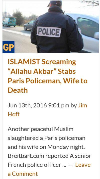Another peaceful Muslim kills...Killings during Ramadan keep going up http://www.thegatewaypundit.com/2016/06/islamist-screaming-allahu-akbar-stabs-paris-policeman-wife-death/