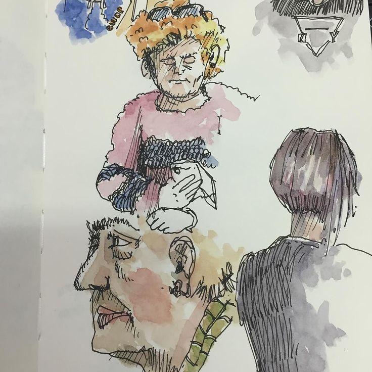 En la sala de espera del Hopsital la Fe (y II). In the waiting room at Hospital La Fe (II). #oneweek100people2017 challenge. #valencia #hospital #hospitallife #lamy #noodlersink #schmincke #usk #people #urbansketchers #sketch #urbansketching