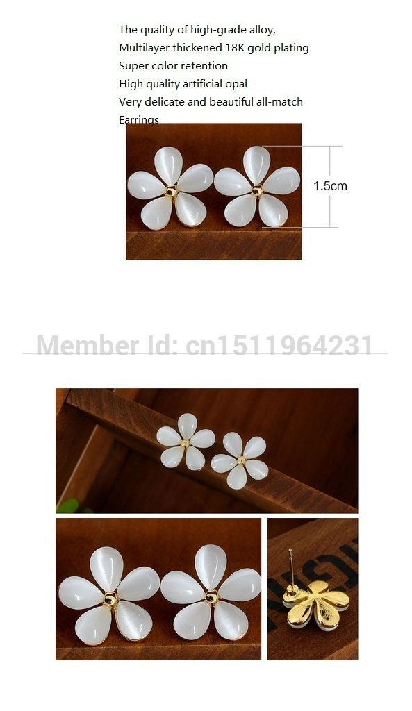 Find More Stud Earrings Information about 2014 Women Fresh Fashinal Cute Earring Cherry Pure White Opal Stud Earing Earring Earrings For Women Lady Earring,High Quality earring solitaire,China earrings non pierced ears Suppliers, Cheap earring craft from Top Fashion Accessory Store on Aliexpress.com