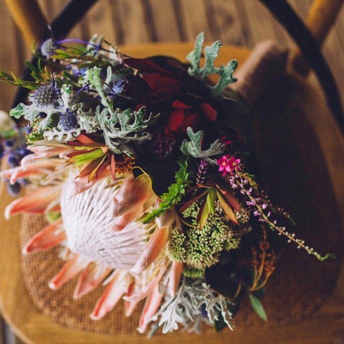 Australian native wedding bouquet with king proteas