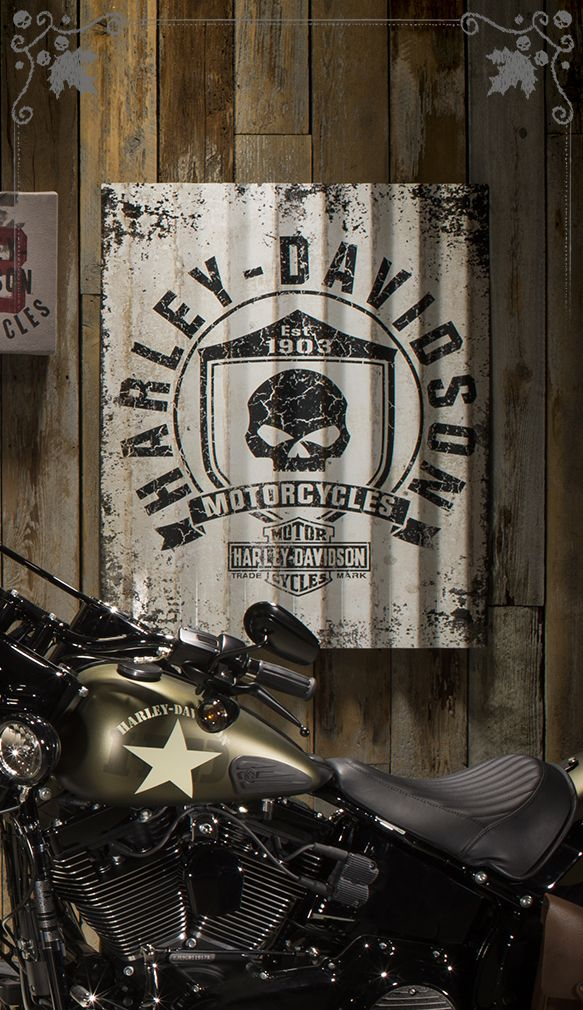 All the attitude but no throttle required. | Harley-Davidson Skull Shield Corrugated Sign