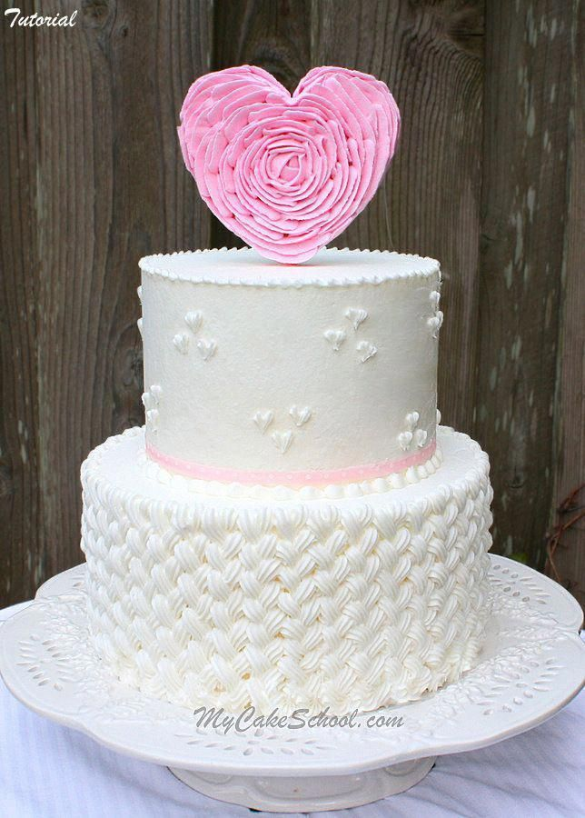 Braided Buttercream Ruffled Heart Topper Tutorial By