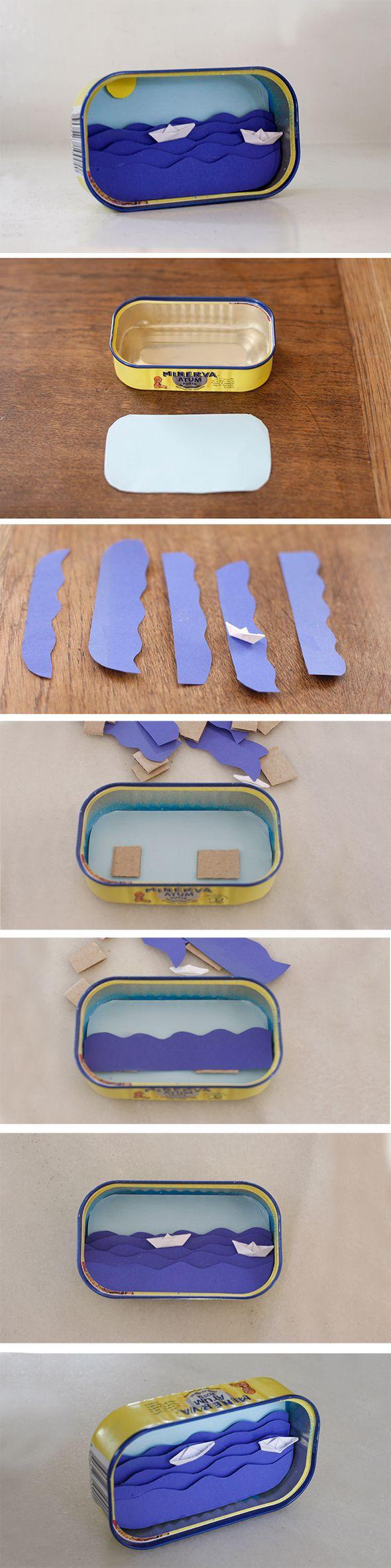 sardinendose recycling lata reciclar manualidad sardine see ocean mar can craft basteln geschenk regalo present kids kinder ninos