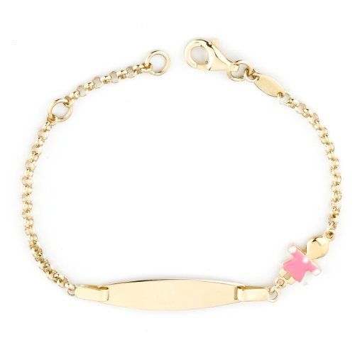 It Comes For Baby Boy Too Yellow Gold Id Enamel Bracelet