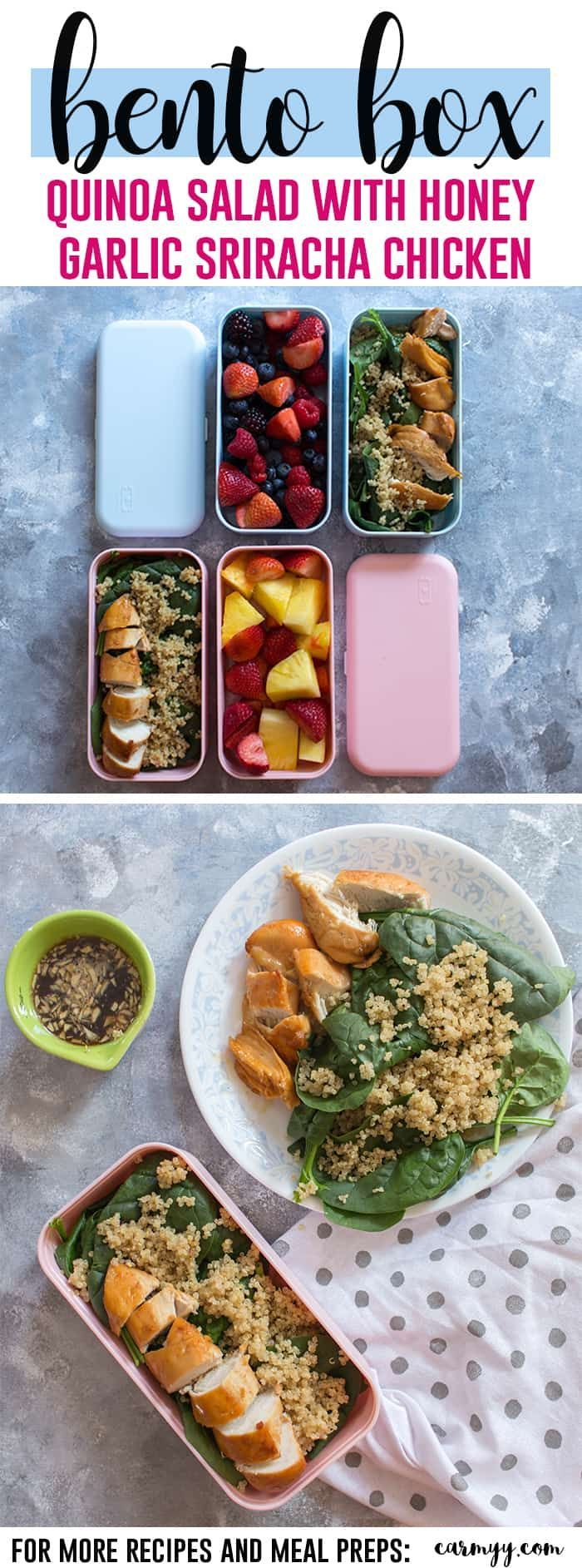 A delicious quinoa salad with honey garlic sriracha chicken that takes less than 40 minutes to make. This meal prep idea will get you excited for lunch time during your work week!  via @runcarmyrun #recipe #mealprep #fastlunch #chicken