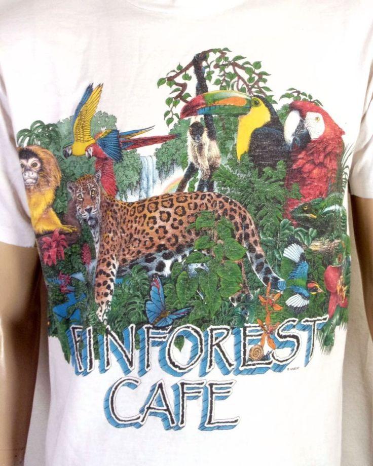 vtg 90s Habitat retro All Over Print Rainforest Cafe T-Shirt Tropical Animal L