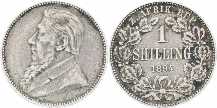 1894 ZAR South Africa Paul Kruger silver one shilling coin