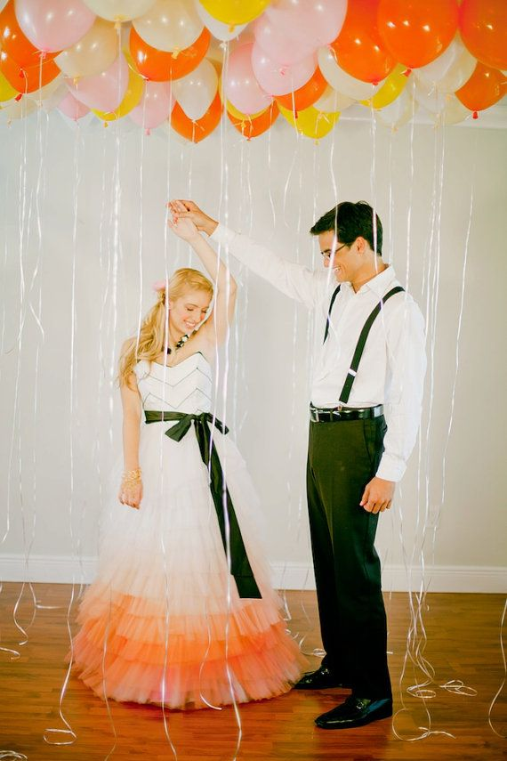 Really cute ombre orange tone alternative wedding dress from etsy!