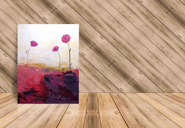For sale: Acrylic original painting POPPY, beautiful home decor