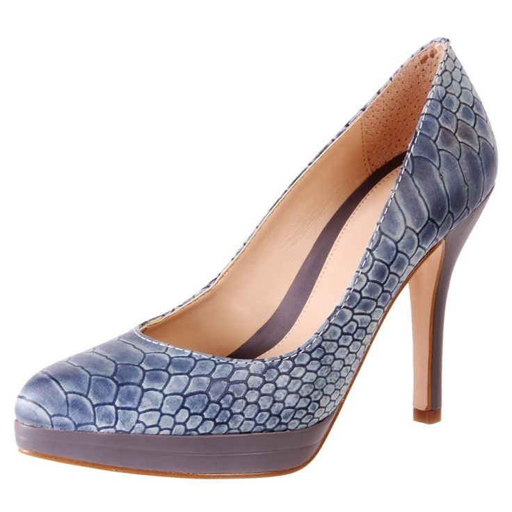 Blue Patent Leather Snake Print Court Heels