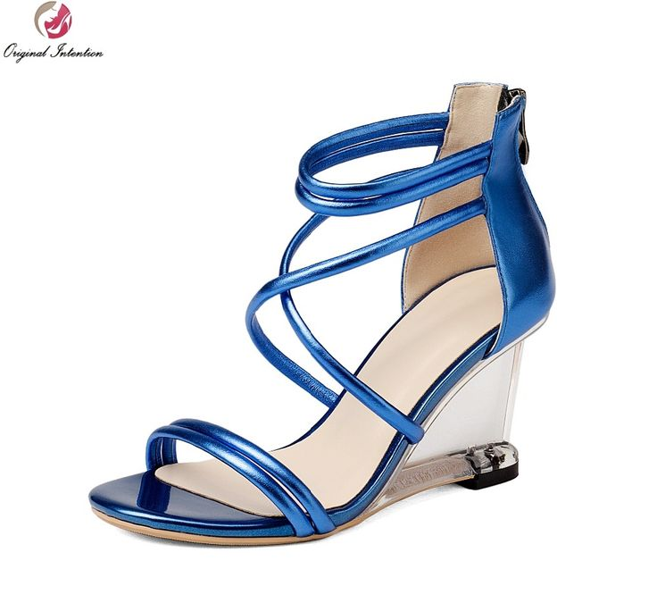 53.71$  Watch now - http://alihpk.shopchina.info/1/go.php?t=32805264577 - Original Intention Nice Women Sandals Cow Leather Open Toe Wedges Sandals Fashion Blue Silver Shoes Woman US Size 4-8.5  #aliexpressideas