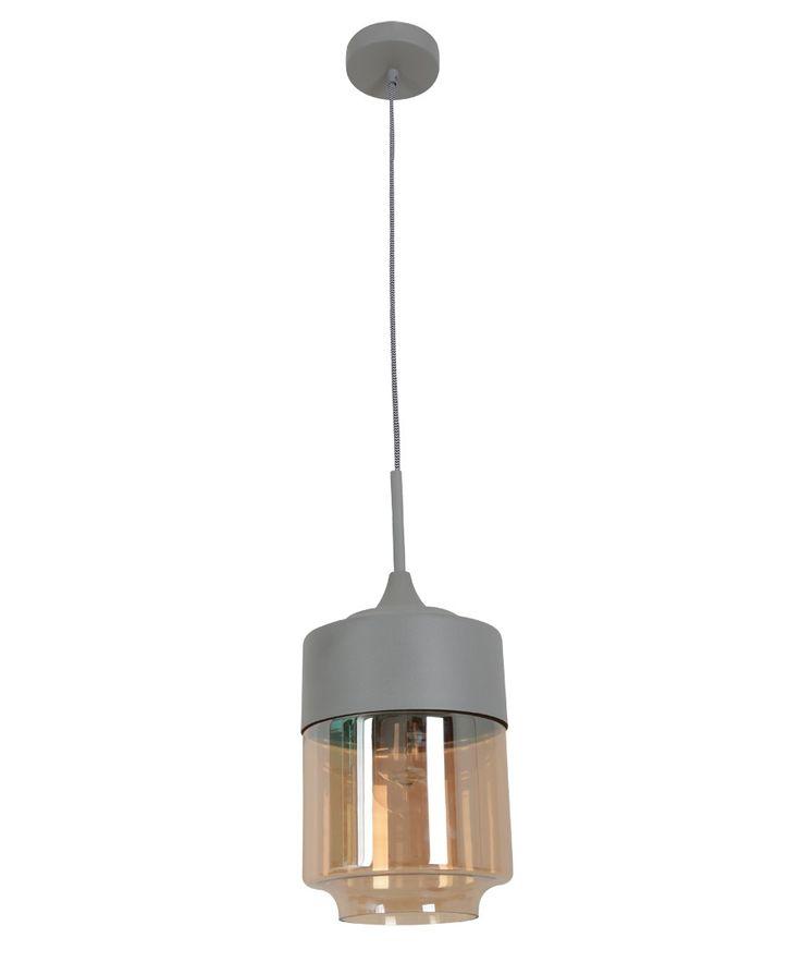 Lunar 1 Light Large Cylinder Pendant In Grey/Amber | Modern Pendants |  Pendant Lights