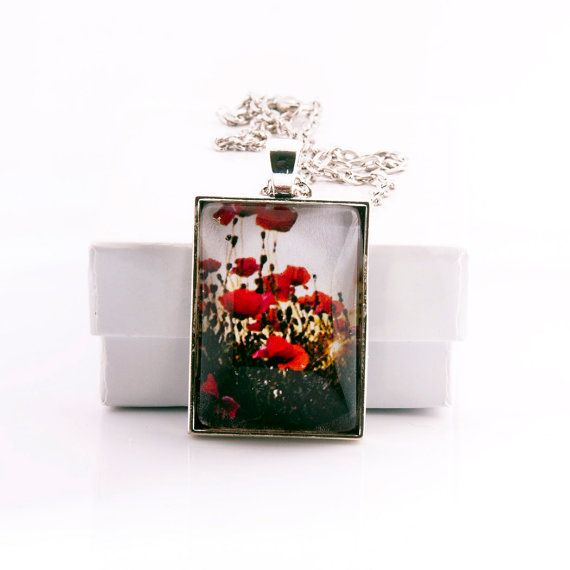Red Poppy Flowers Photo Pendant Necklace at by RichardandPatty