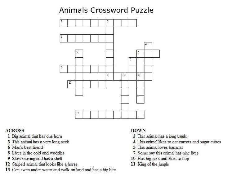 Kids Crossword Puzzles - Print your animals crossword puzzle.jpg puzzle at AllKidsNetwork.com