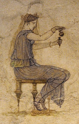 Etruscan: Perfumer filling a perfume vial from an aryballos,  fragment of a wall fresco near Tiber. 1 st cent BC