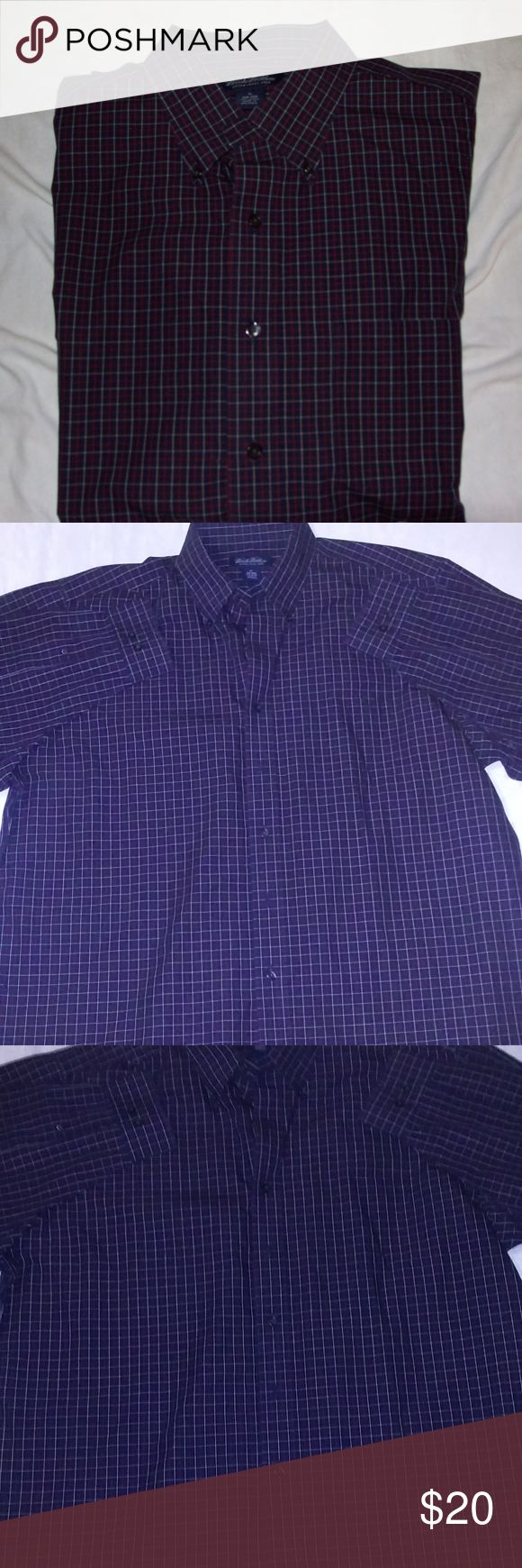 BROOKS BROTHERS mens XL non iron shirt plaid Here we have a Brooks Brothers Non Iron Dress Shirt.   Dark Blue w/ white & red stripes to make CHECKS DESIGN  Very Good condition, Size XL  If you have any questions or would like more pics feel free to ask. Brooks Brothers Shirts Dress Shirts