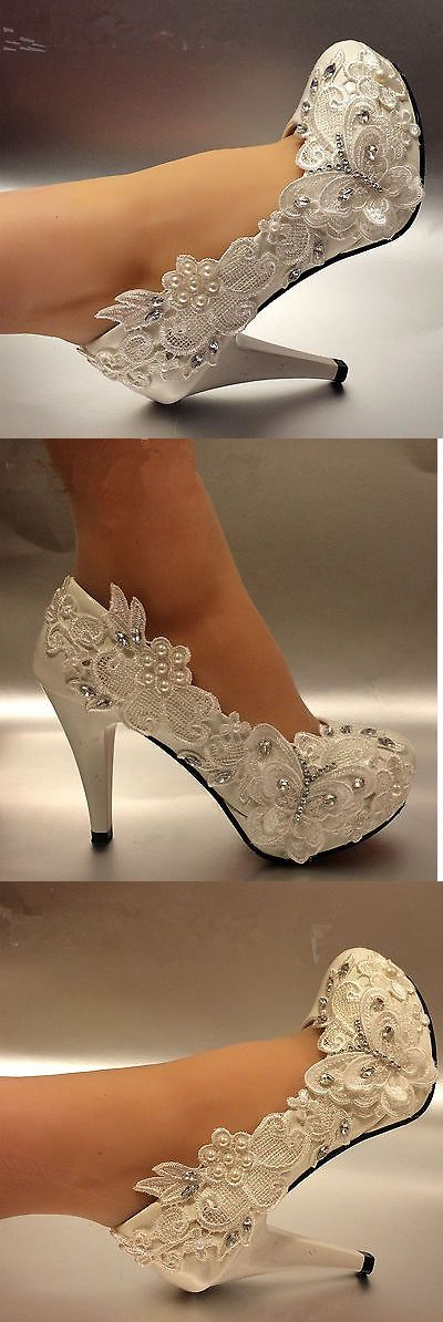 Wedding Shoes And Bridal Shoes: 3 / 4 White Light Ivory Lace Crystal Wedding Shoes Bridal High Heel Pumps Size BUY IT NOW ONLY: $33.99
