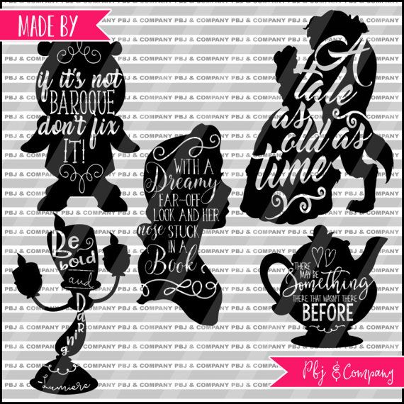 Beauty and the Beast Collection, Belle and Beast, Quote DIY Cutting File - SVG, PNG, jpeg, pdf Files - Silhouette Cameo/Cricut, svg pack