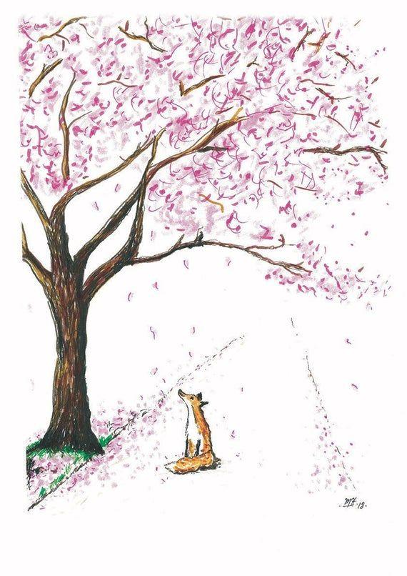 Cherry Blossom Fox Blossom Tree Blossom Art Print Etsy Blossoms Art Cherry Blossoms Illustration Cute Paintings