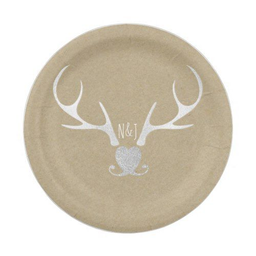 White Silver Antlers & Brown Paper Rustic Wedding Paper
