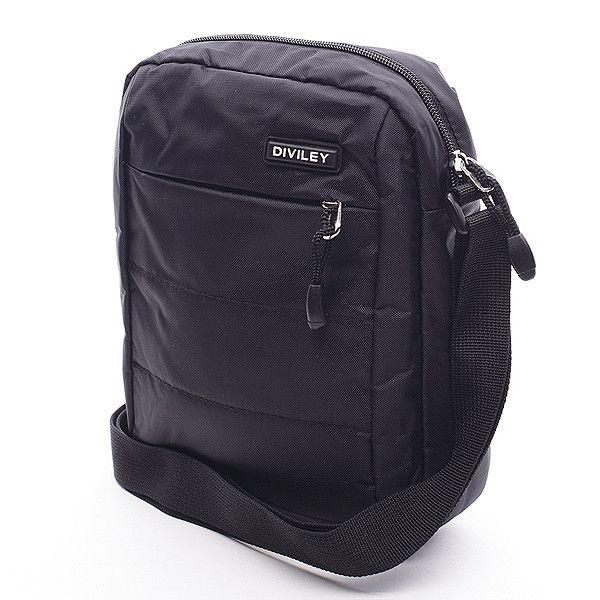 #Diviley   Jednoduchá celočerná taška přes rameno se zajímavým prošitím. Taška má velkou kapsu, která ukrývá další dvě kapsy, jedna na zip a jedna bez zipu. Zepředu i zezadu kapsa na zip. Ideální pro volný čas.